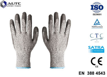 Elastic Seamless Knit Industrial Safety Hand Gloves 3 Gauge HPPE Liner PU Coated
